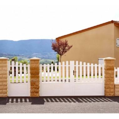 Portail PVC semi-plein 3,5m - Cadre aluminium